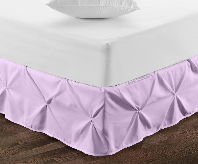 Top quality lilac pinch pleated bed skirt