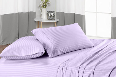 Luxury Lilac Stripe Flat Sheet