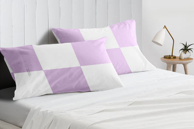 Soft Luxurious lilac - white chex pillowcases