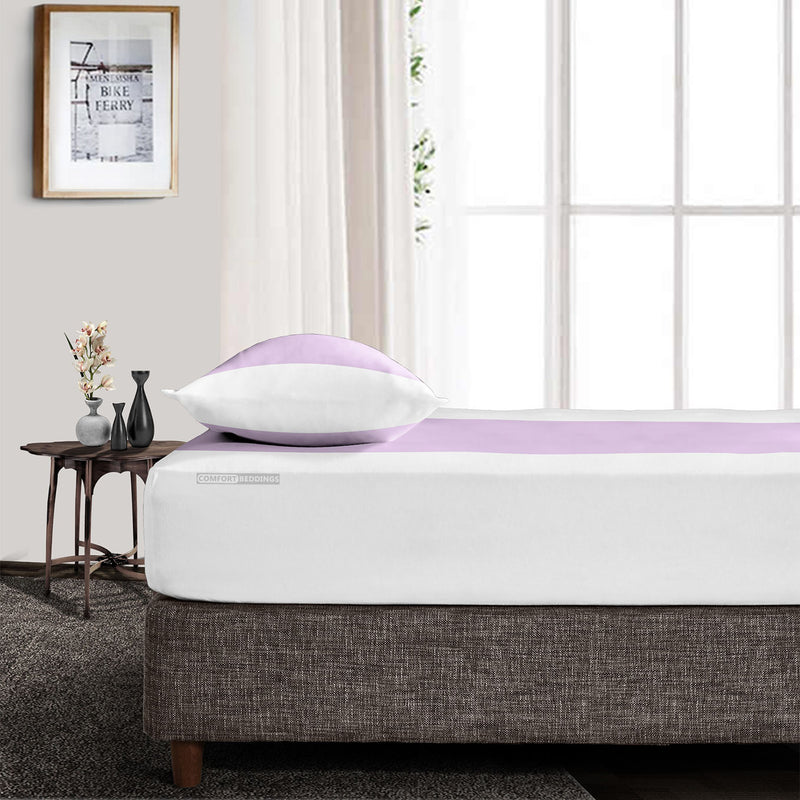 Top Quality  Lilac - White Contrast Fitted Sheet
