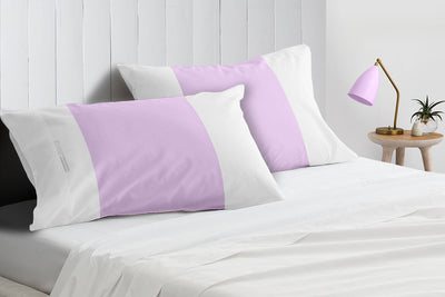 Soft Luxurious lilac - white contrast pillowcases