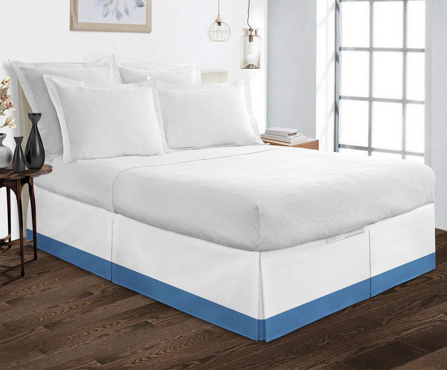 Essential Mediterranean Blue two tone bed skirt
