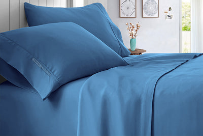 100% Egyptian Cotton Mediterranean Blue Sheet Sets