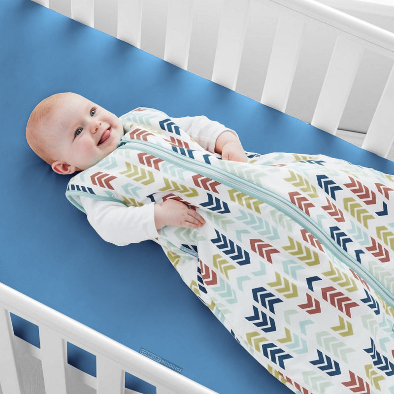Luxury Mediterranean Blue 1000TC Fitted Crib Sheets