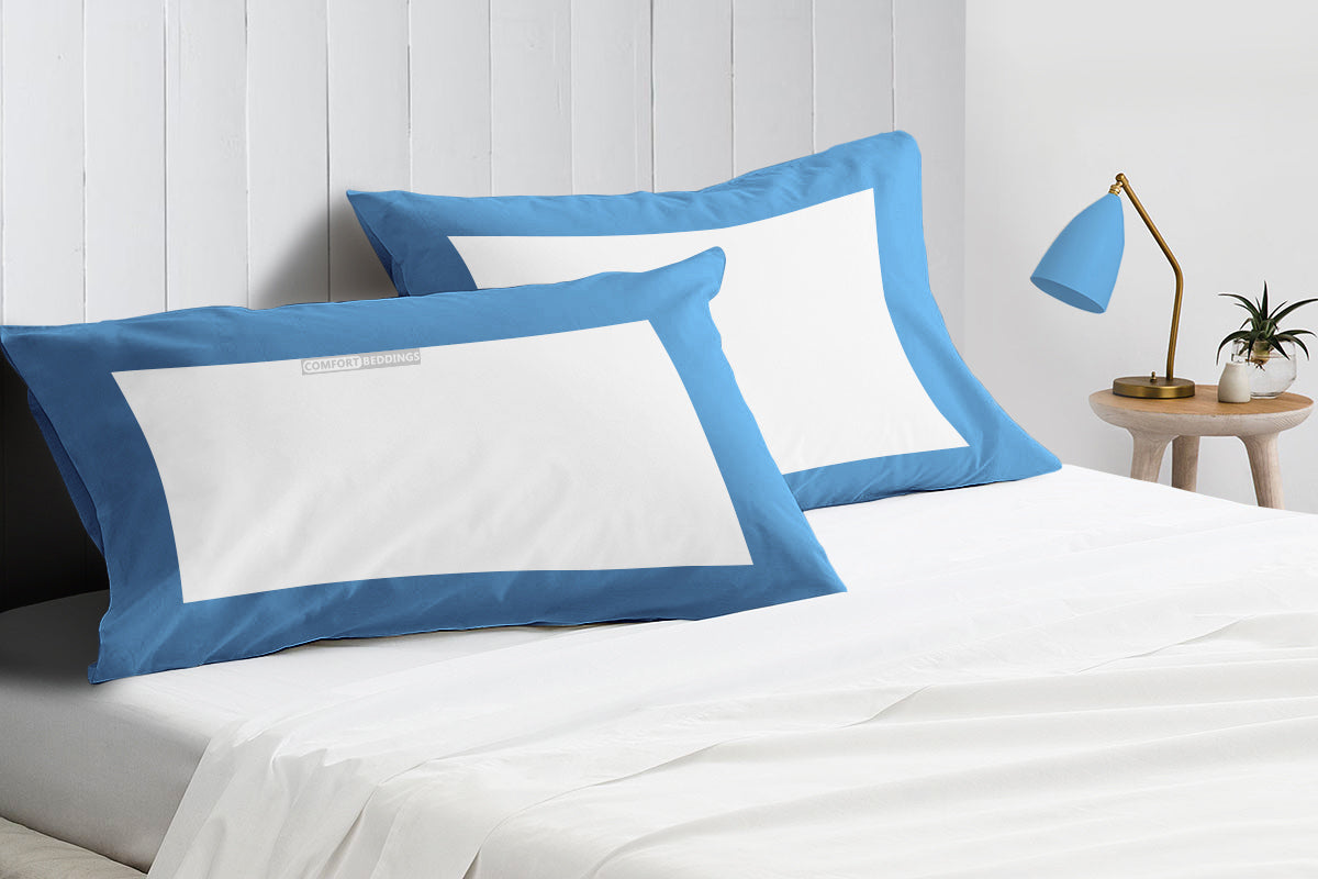 Soft Mediterranean blue - white two tone pillow cases