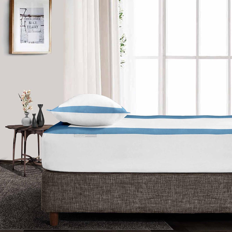 Luxury Mediterranean Blue - White two tone fitted sheets