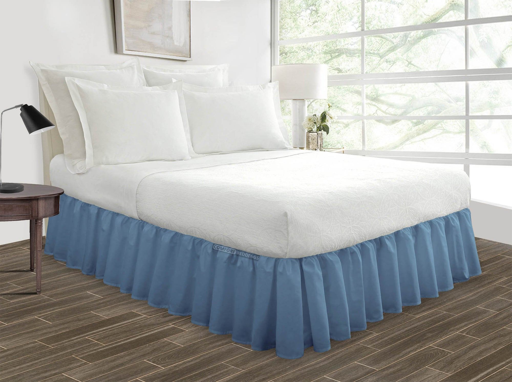 Luxury Mediterranean Blue Ruffled Bed Skirt