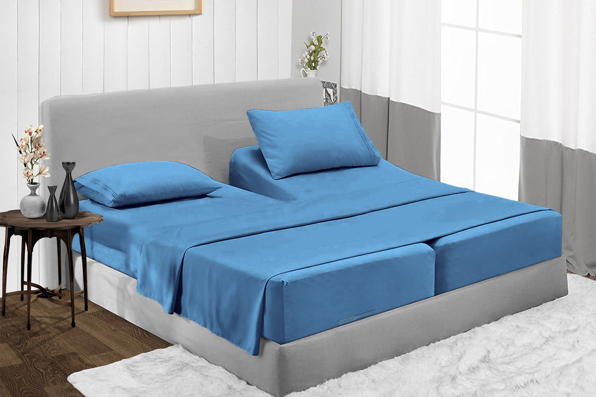 Adjustable Mediterranean Blue Split Bed Sheets