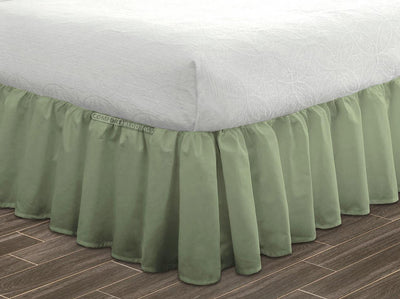 Luxurious Moss Ruffled Bed Skirt