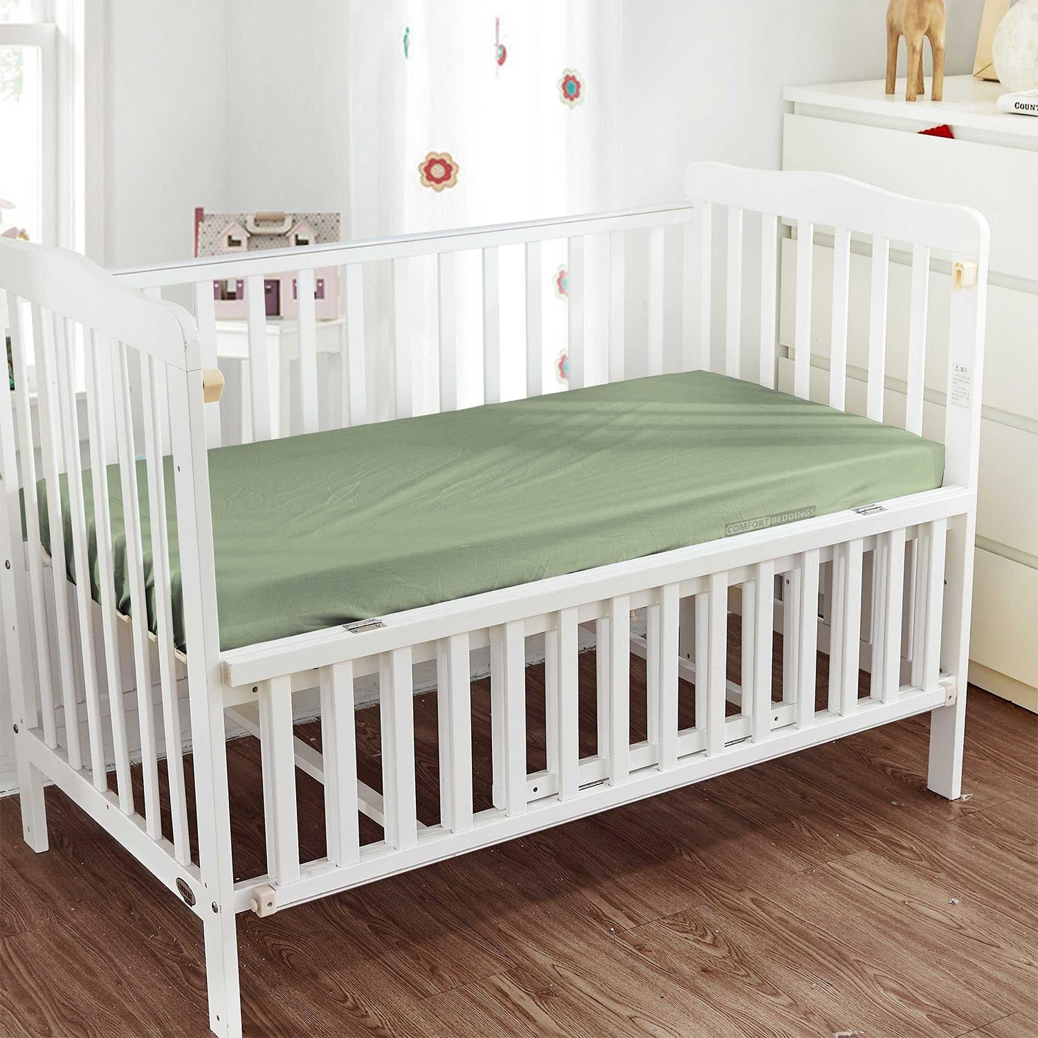 Luxury Moss Fitted Crib Sheets - 600 and 1000TC