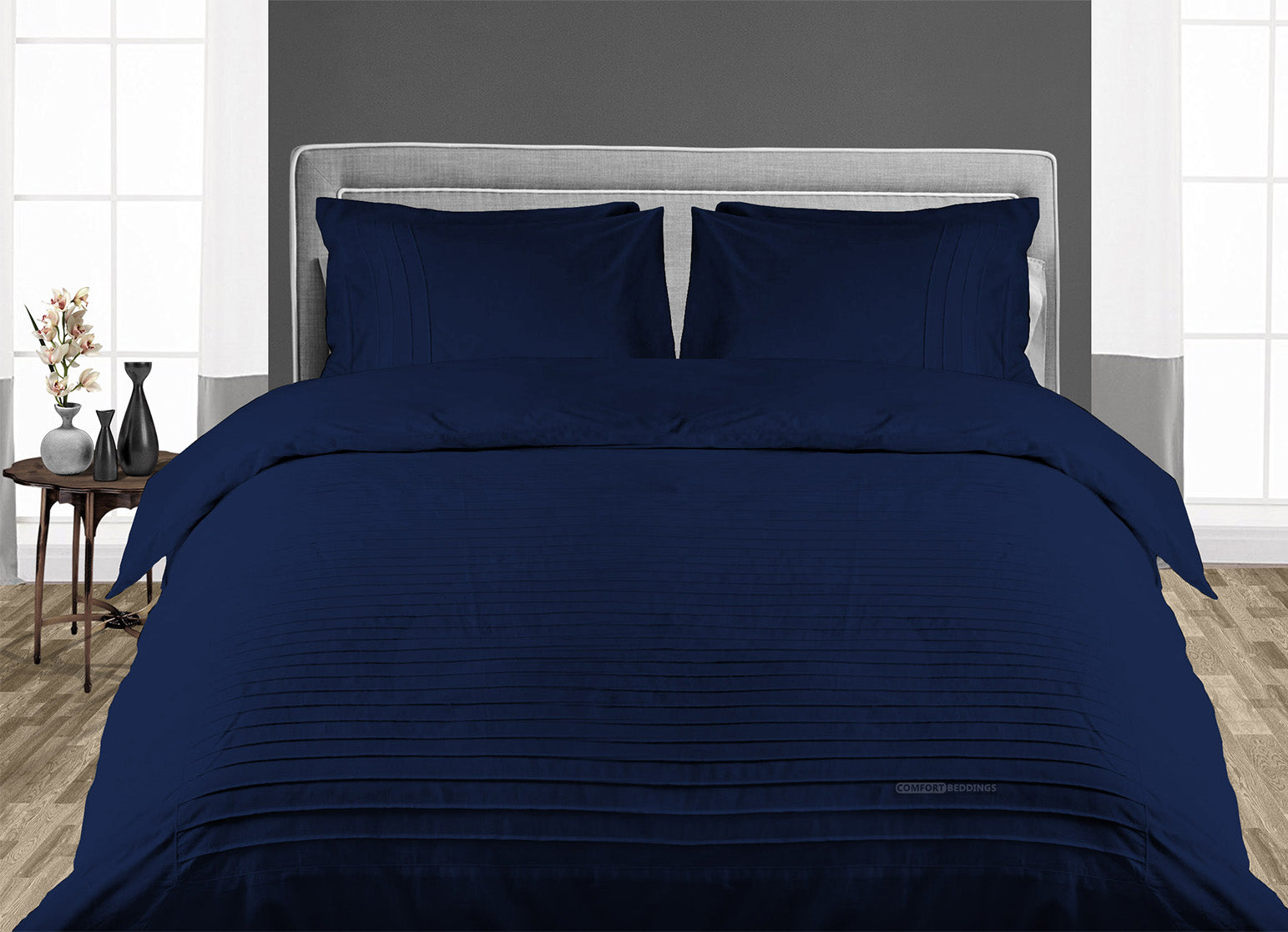 Original Navy Blue Moroccan Streak Duvet Cover And Pillowcases