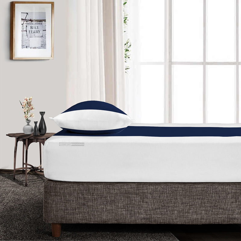 Soft Luxurious Navy Blue - White Contrast Fitted Sheets