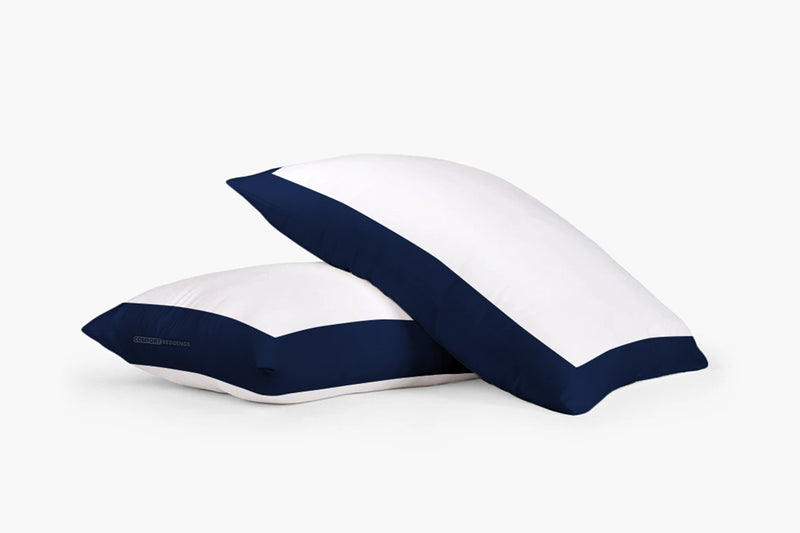 Luxurious navy blue - white two tone pillow cases
