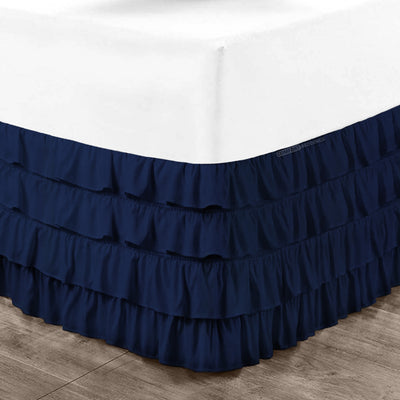 Egyptian cotton navy blue waterfall ruffled bed skirt