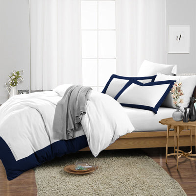Original Navy Blue Two Tone Duvet Cover