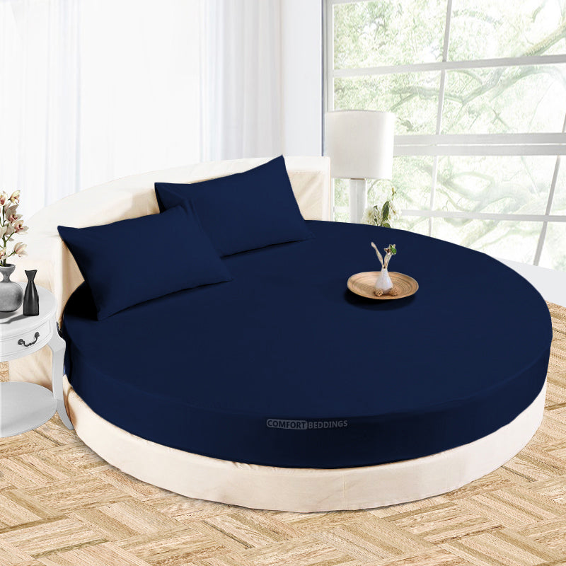 Luxury navy blue round Sheet Set