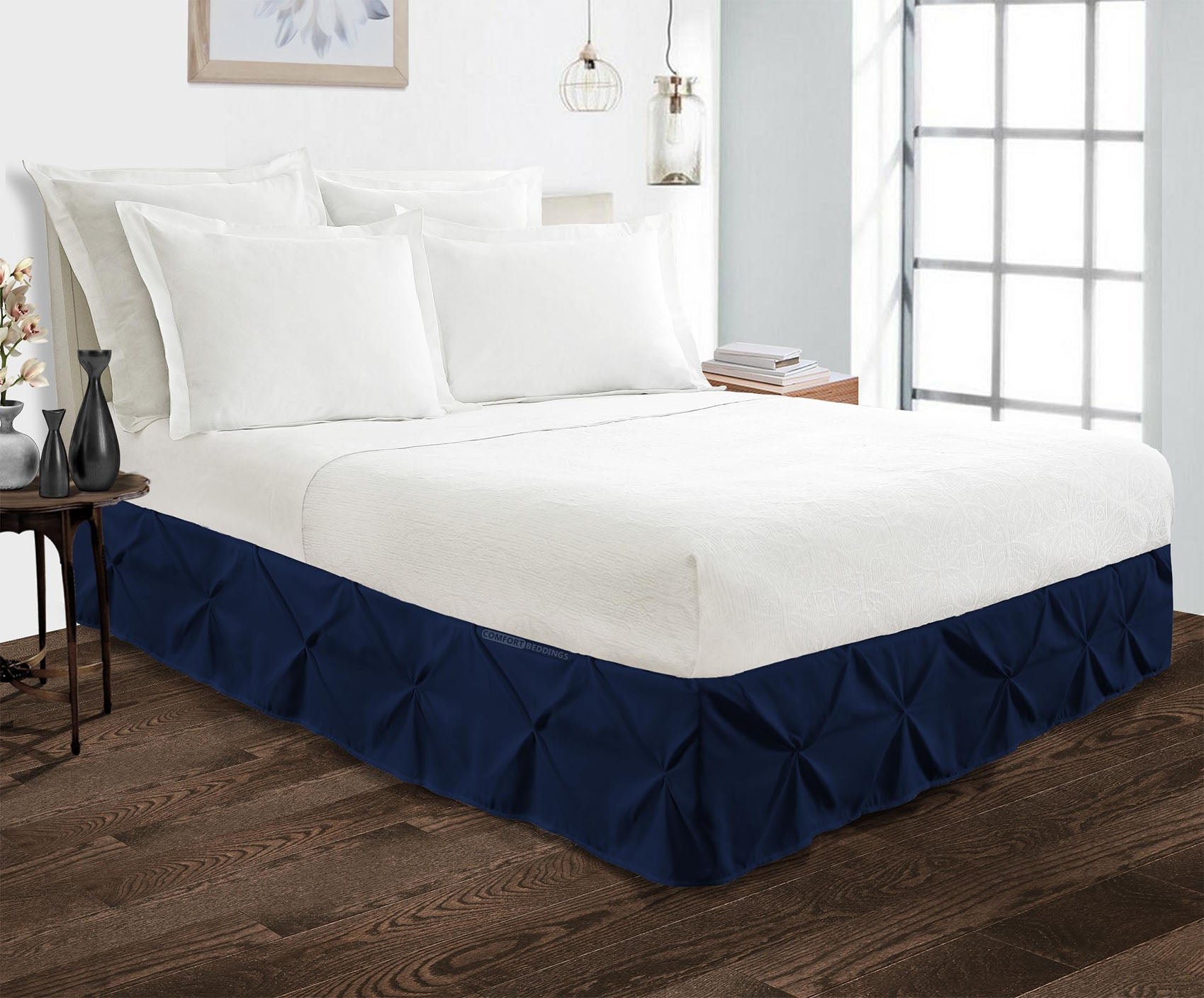 Imperial luxury navy blue pinch pleated bed skirt