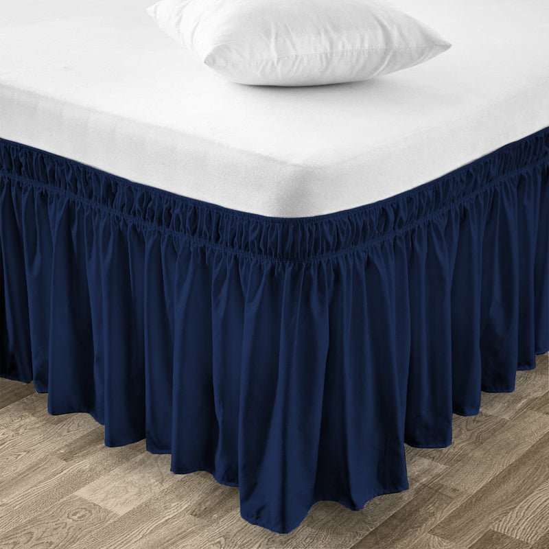 Top Selling Navy Blue Wrap Around bed skirt