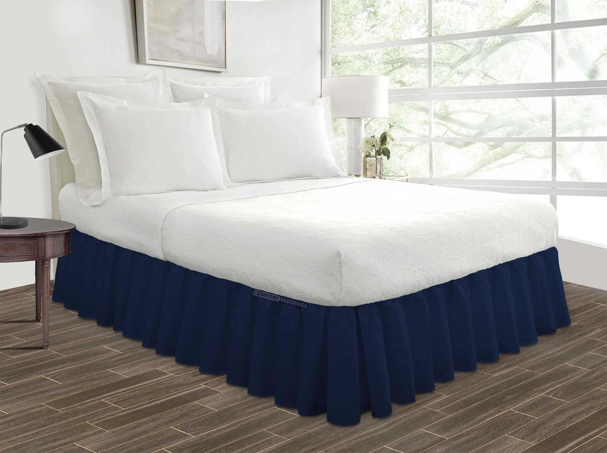 Luxury Navy Blue Ruffled Bed Skirt
