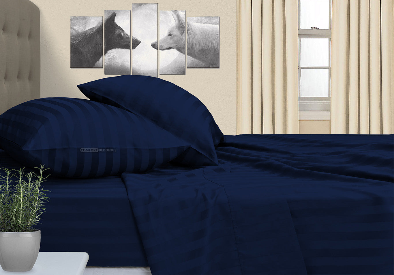 Luxurious Navy Blue Stripe RV Bunk Sheet Set