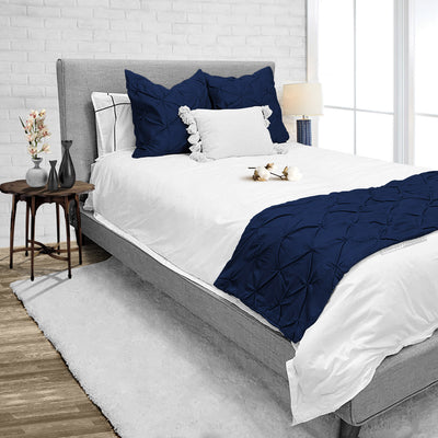 Pinch Bed Runner set Navy Blue