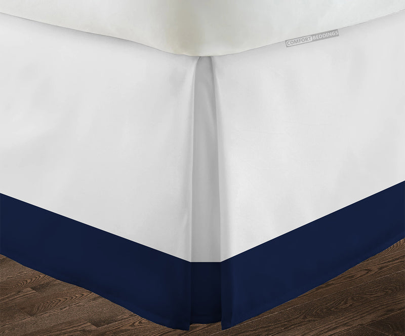 Luxury navy blue two tone bed skirt