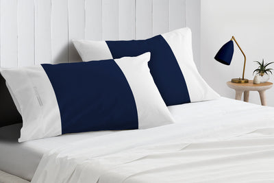Luxurious Navy blue - white contrast pillowcases