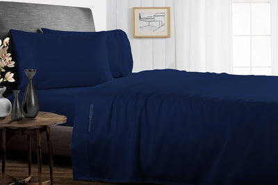 Luxury Cotton Navy Blue Split Sheet Set
