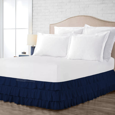 Egyptian Cotton Navy Blue Multi Ruffled Bed Skirt