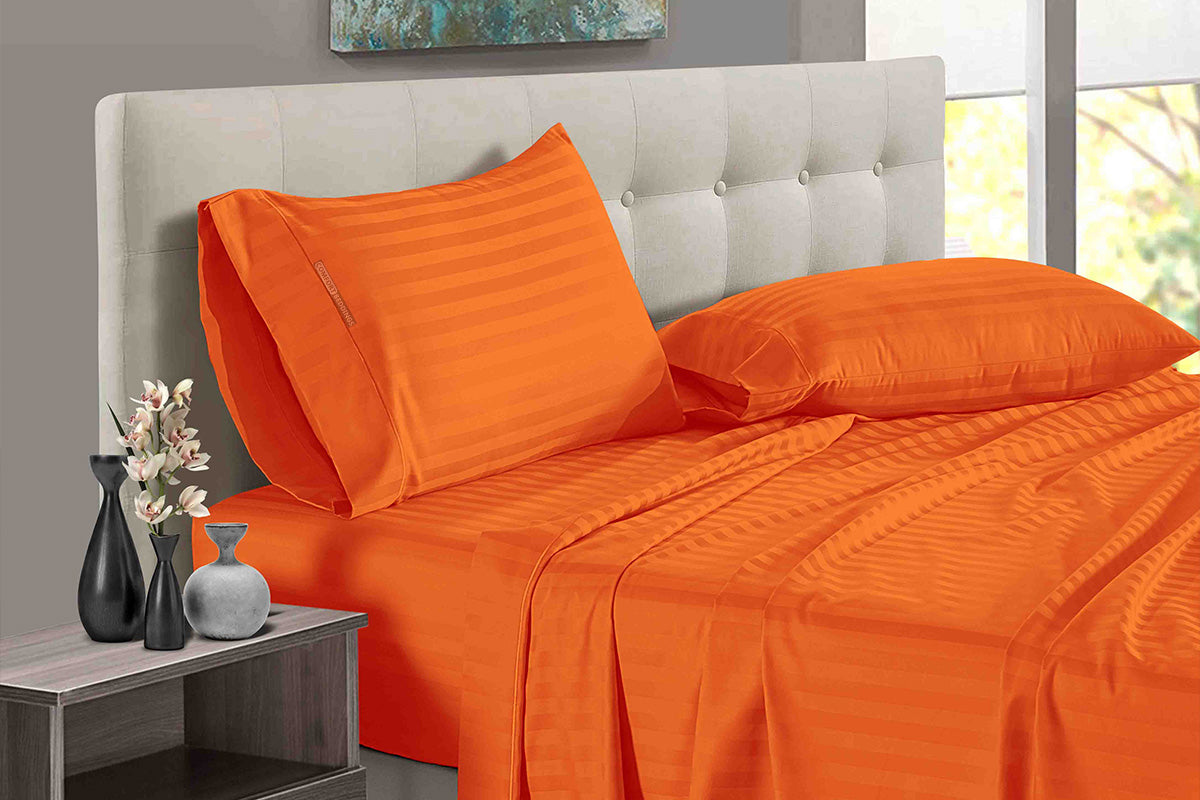 100% Egyptian Cotton Orange Stripe Split Sheet