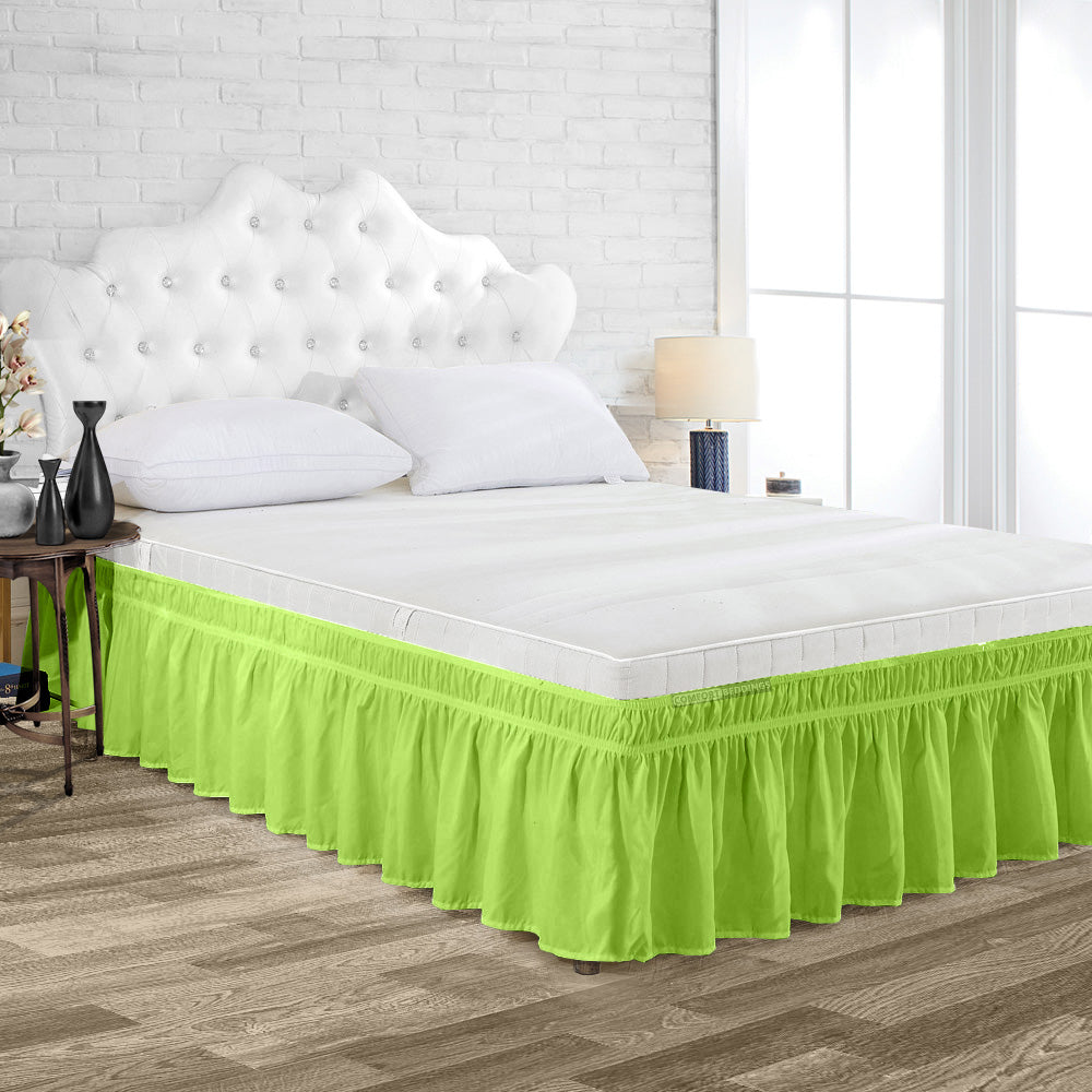 Essential Parrot Green Wrap Around bed skirt