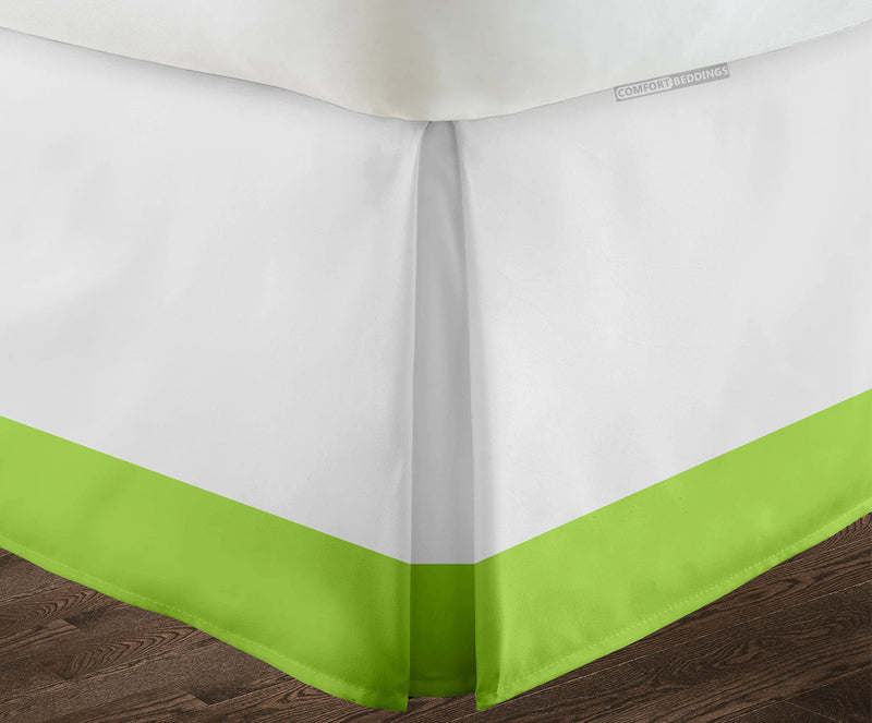 Luxury Parrot Green two tone bed skirt