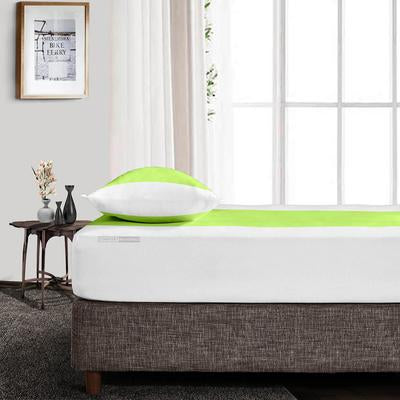 Parrot Green - White Contrast Fitted Sheets
