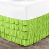 Egyptian cotton parrot green waterfall ruffled bed skirt