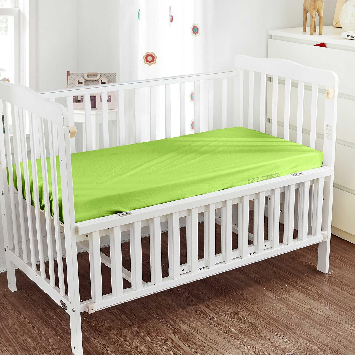 Soft Parrot Green Fitted Crib Sheets - 600TC