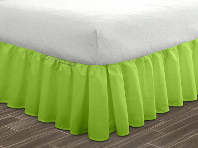 Egyptian Cotton Made Parrot Green Ruffled Bed Skirt