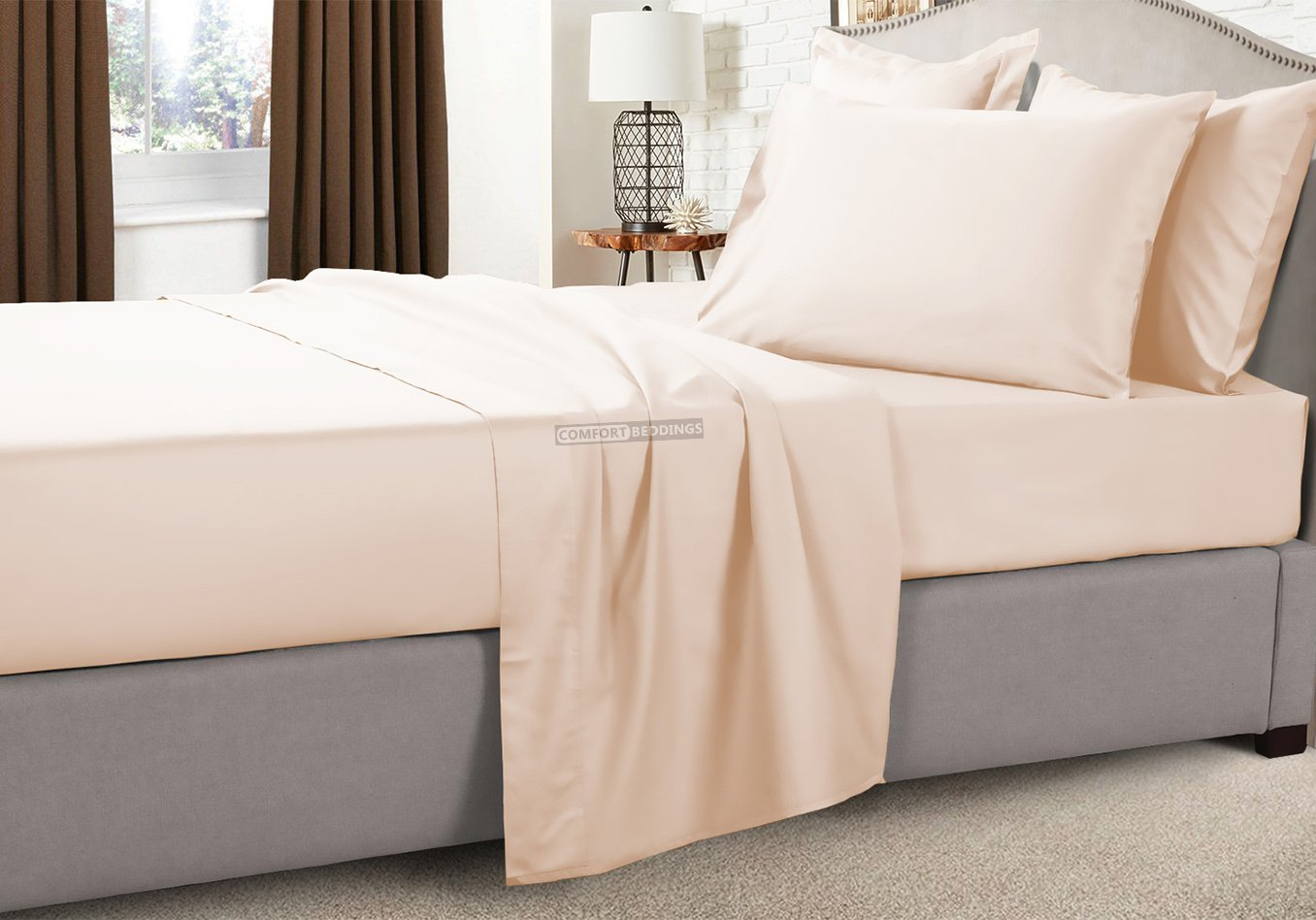 100% Egyptian Cotton Peach RV Sheets Set