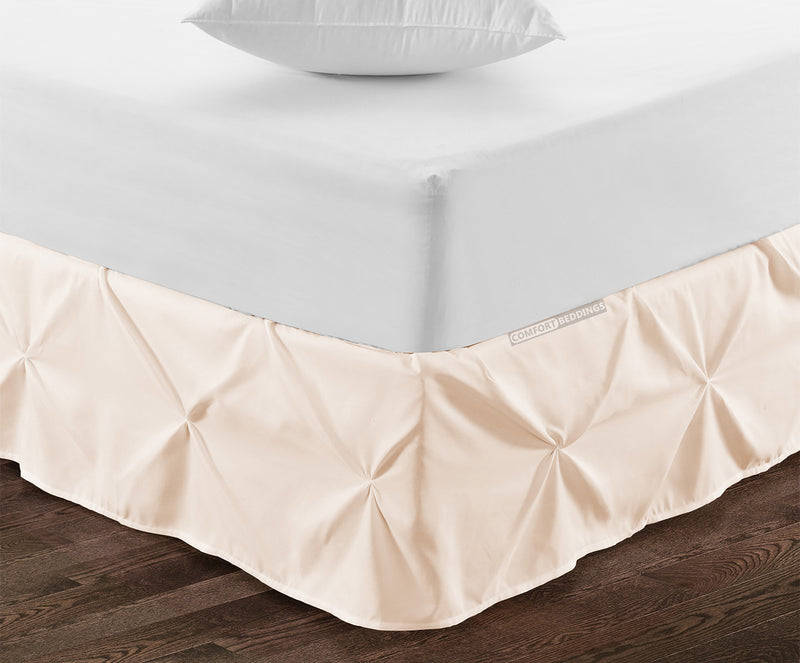 Best 100% cotton Peach pinch pleated bed skirt