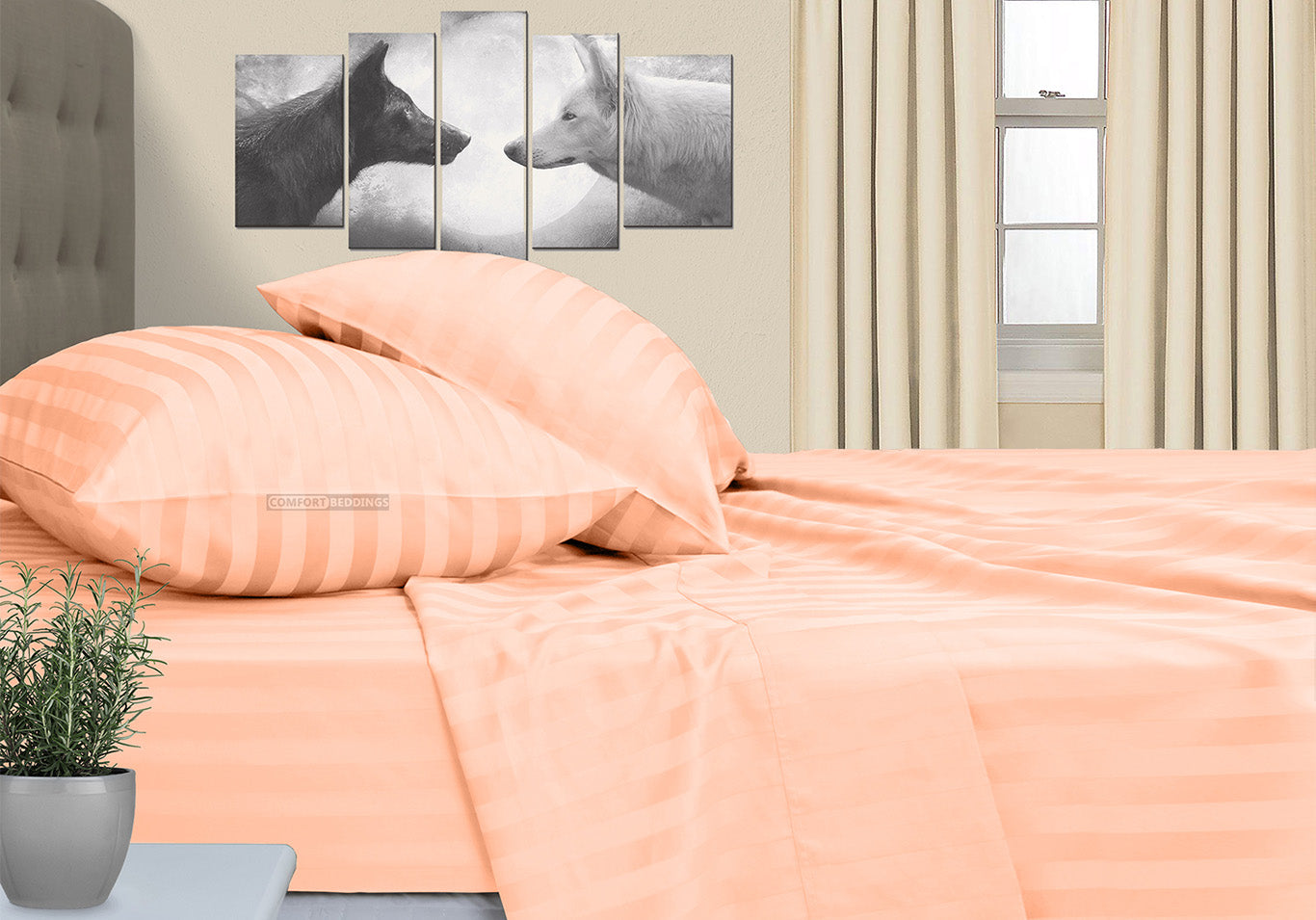 Luxurious Peach Stripe RV Queen Sheet Set