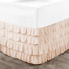 Elegant Peach waterfall ruffled bed skirt