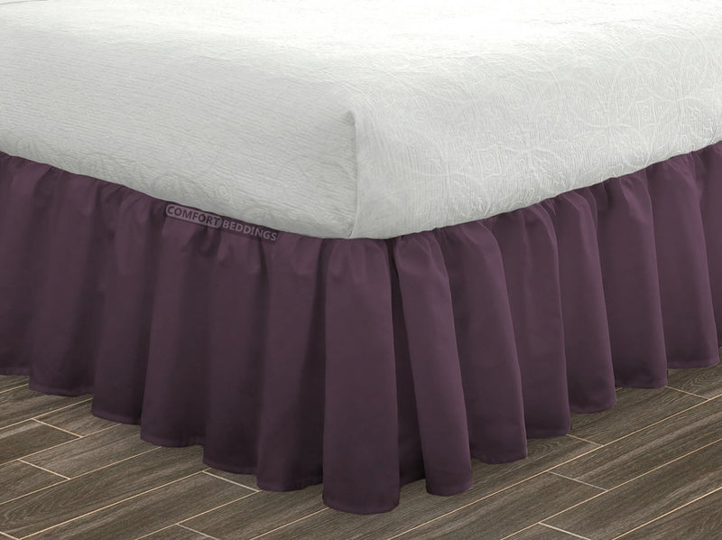 1000 TC Plum ruffled bed skirt