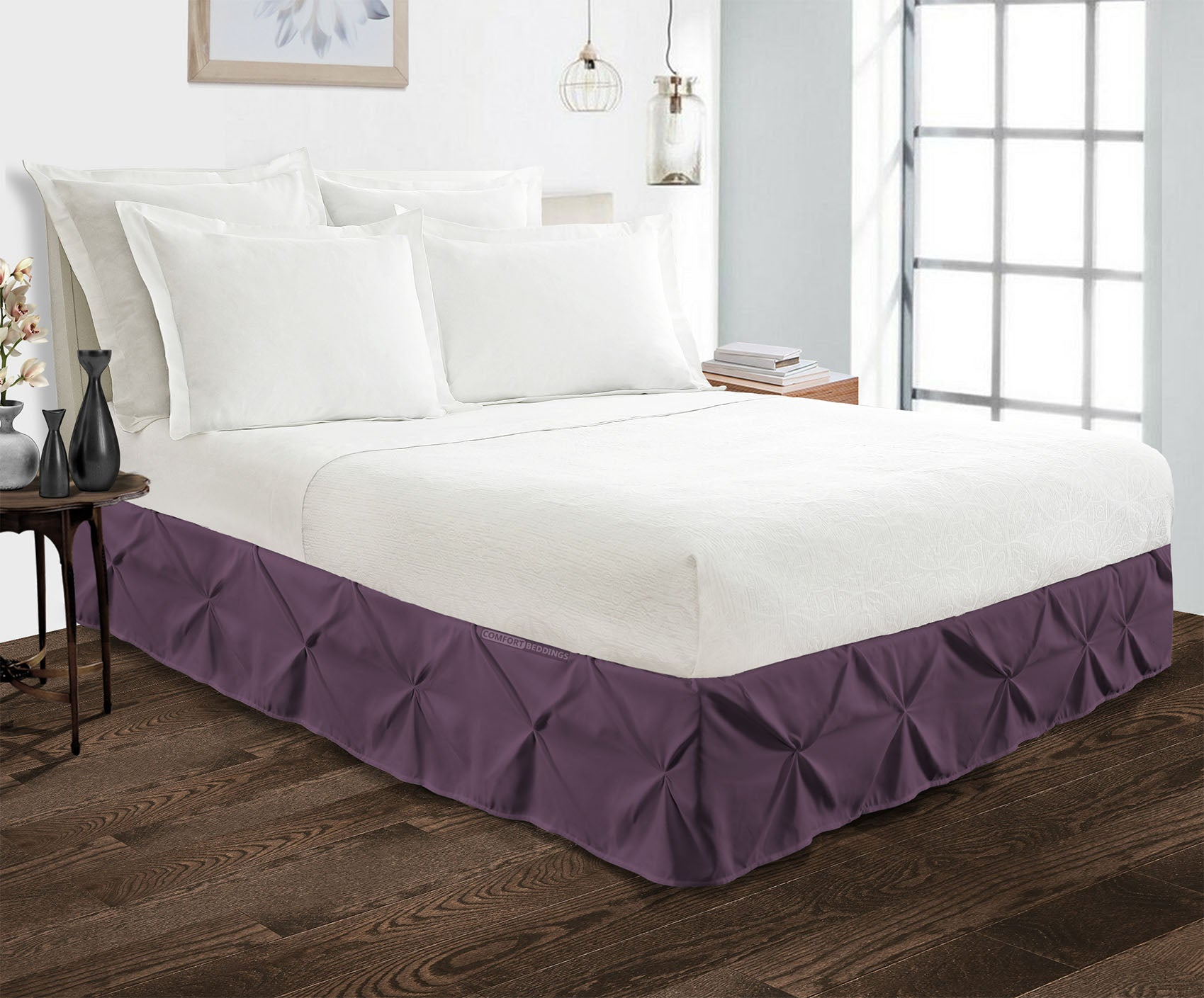 600TC Plum pinch pleated bed skirt