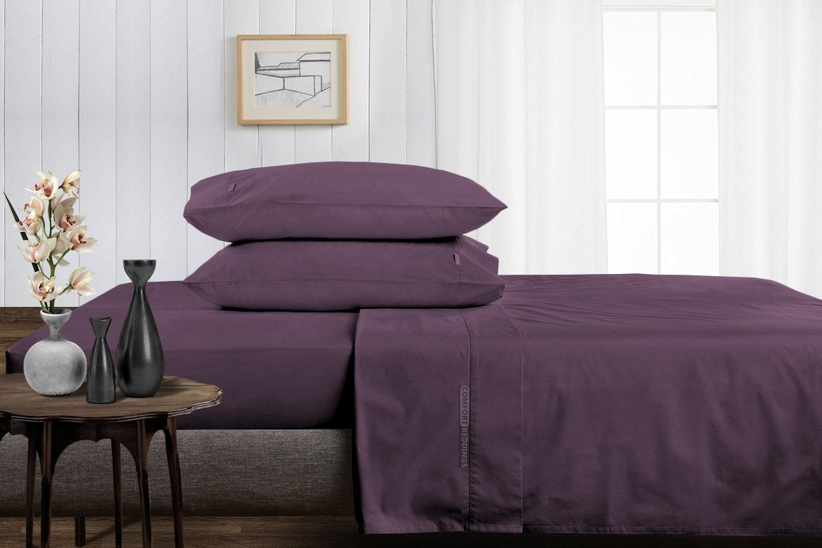 100% Egyptian Cotton Plum Split Sheet Set