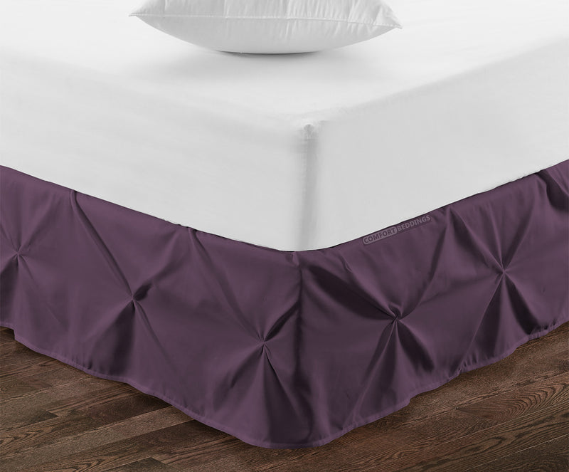 1000TC Plum pinch pleated bed skirt