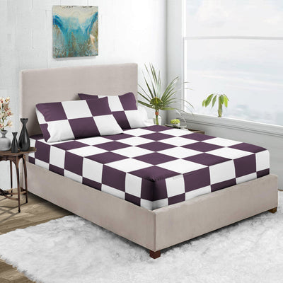Top Quality Plum - White Chex Fitted Sheet