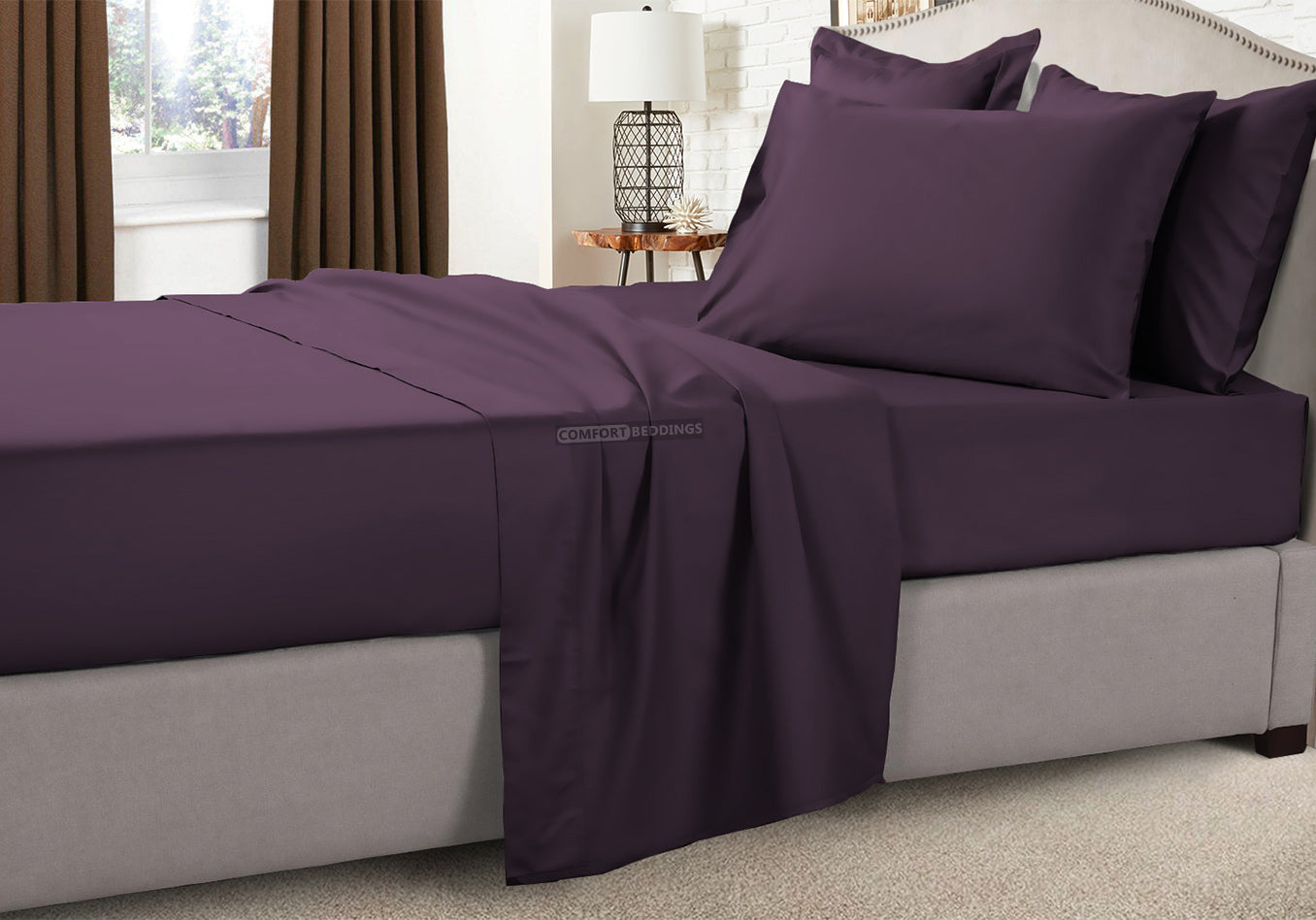 Luxury 1000TC Plum Camper Bunk Sheet Set