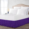 Elegant Purple Waterfall Ruffled Bed Skirt
