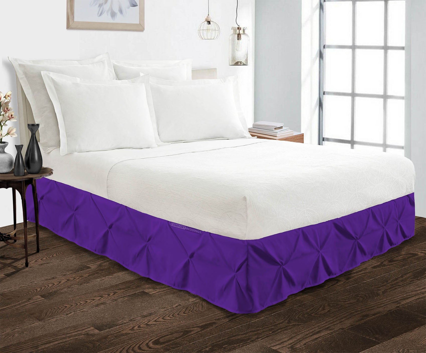 Luxurious Purple pinch pleated bed skirt