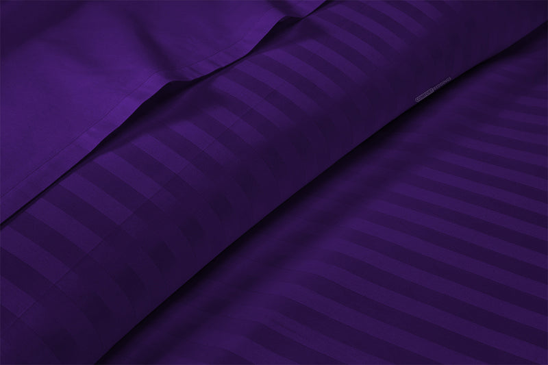 Easy Adjustable Purple Stripe Split Bed Sheets