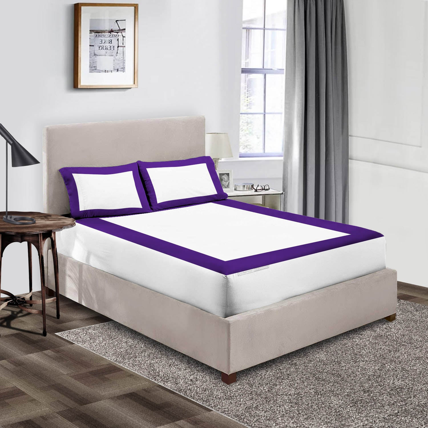 Luxury Purple - white two tone fitted sheets